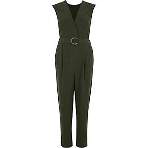 Kaki mouwloze tailored jumpsuit