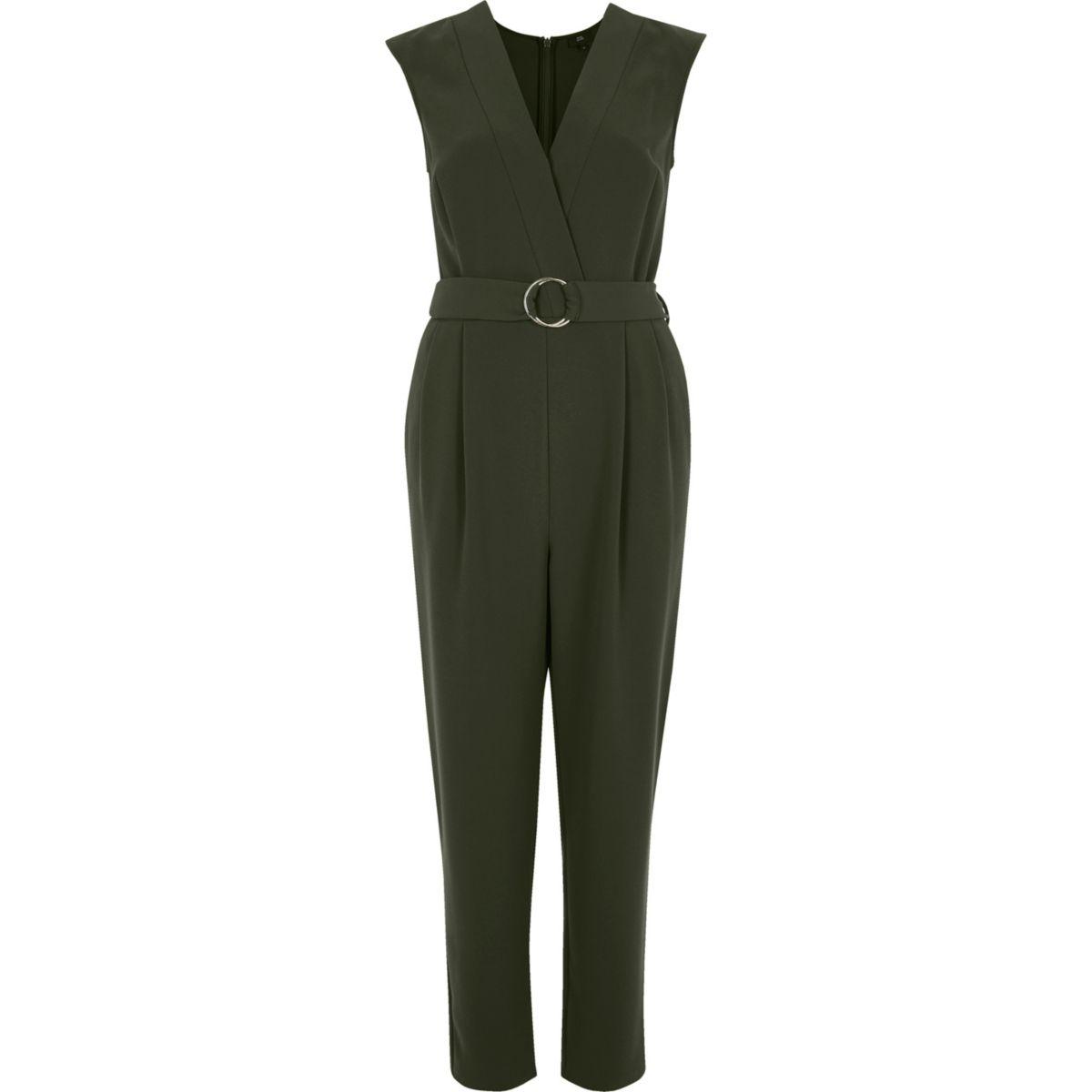 Khaki sleeveless tailored jumpsuit