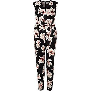 Zwarte mouwloze jumpsuit met bloemenprint