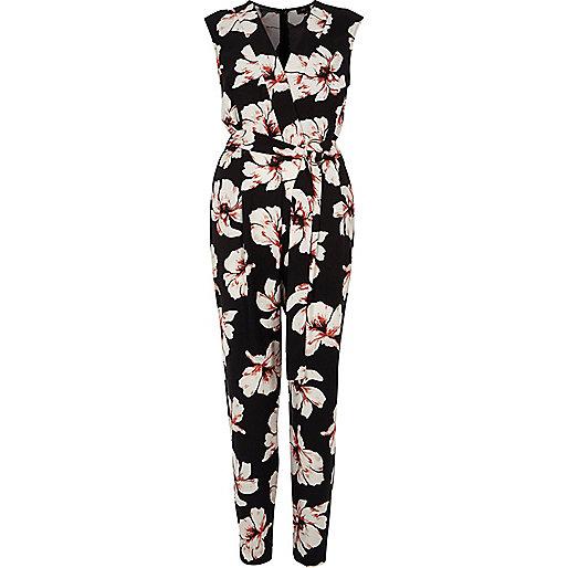 Black floral print sleeveless jumpsuit