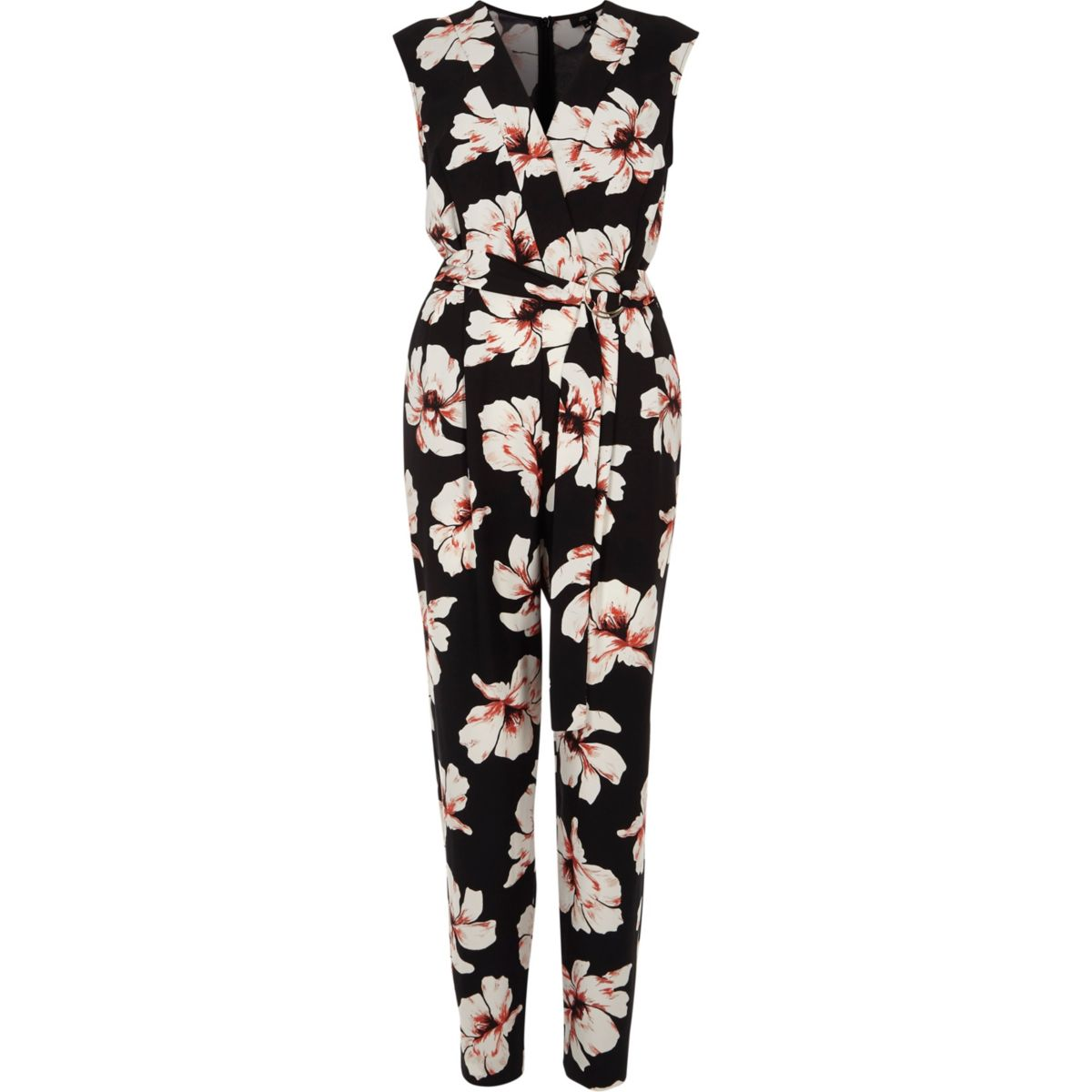 Black floral print sleeveless jumpsuit