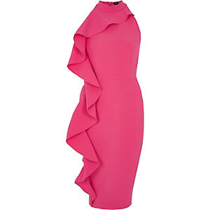 Pink frill side sleeveless bodycon dress
