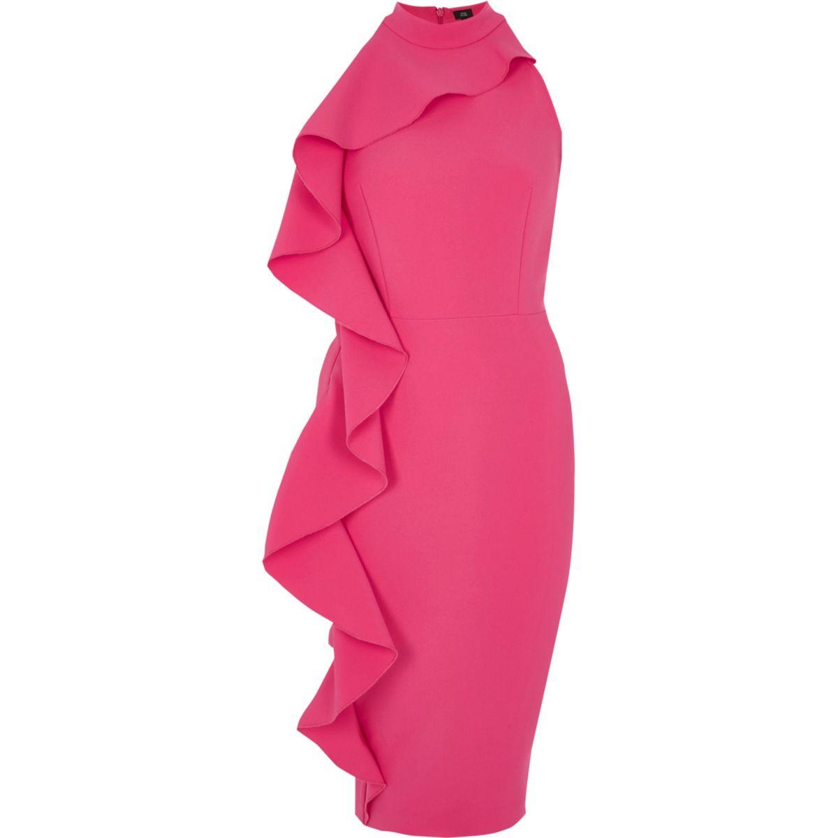 Pink frill side sleeveless bodycon dress