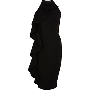 Schwarzes, ärmelloses Bodycon-Kleid mit Rüschen
