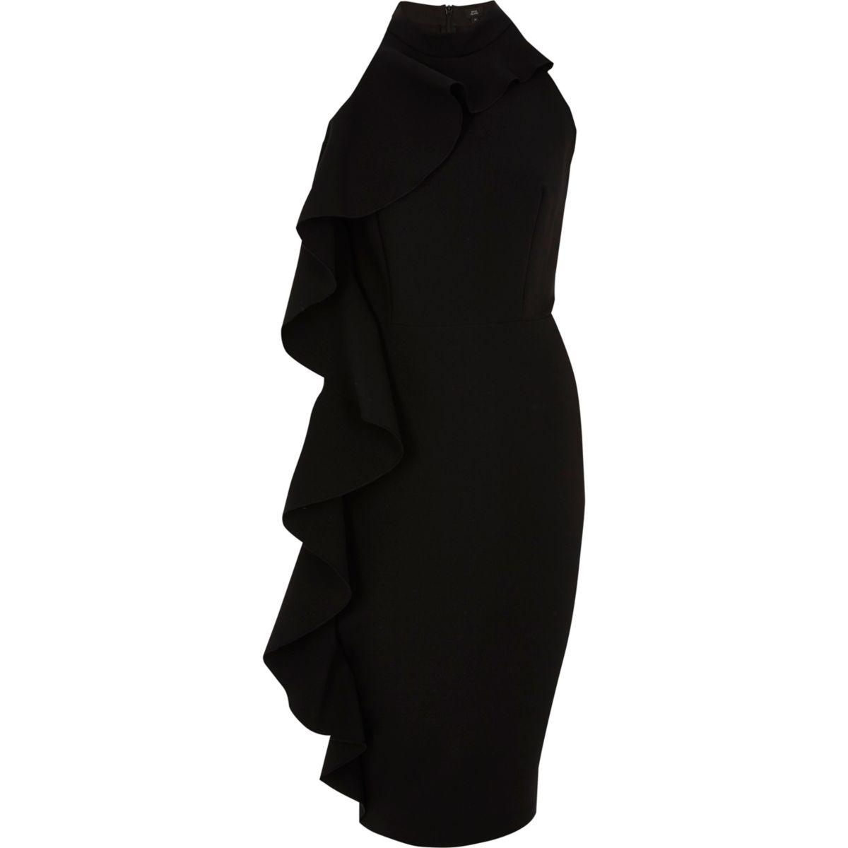 Black frill side sleeveless bodycon dress