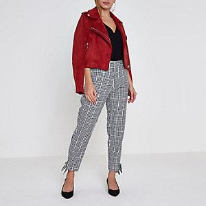 Petite black check bow hem cigarette trousers