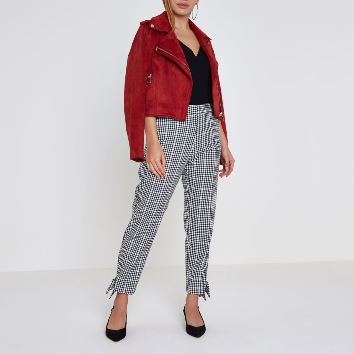 Petite black check bow hem cigarette trousers