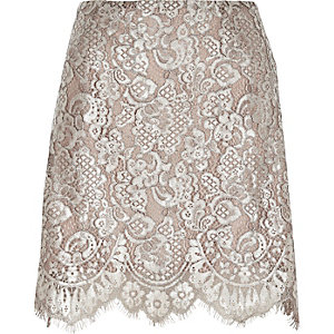 Silver metallic lace mini skirt