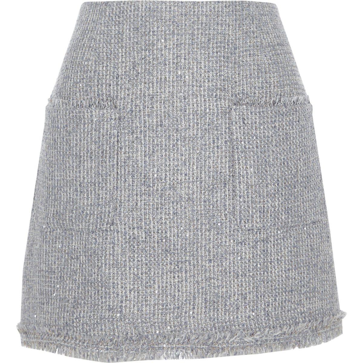 Grey boucle knit A line mini skirt