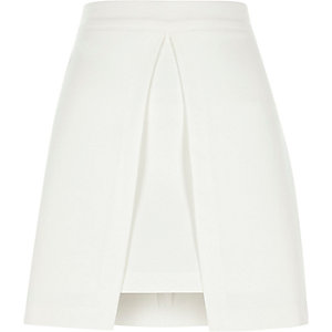 White split front A line mini skirt