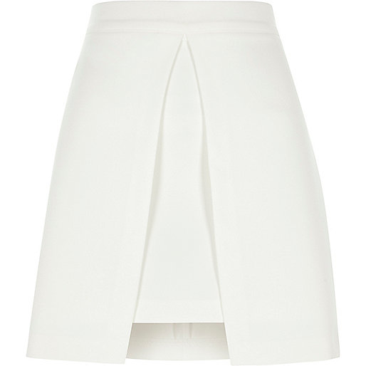 White split front A line mini skirt