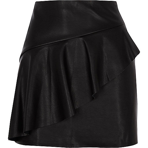 Black faux leather frill front mini skirt