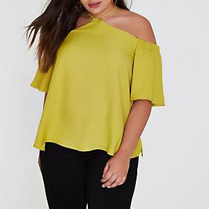 Top grande taille vert citron à épaules dénudées et dos nu