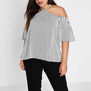 Plus stripe cold shoulder halter neck top
