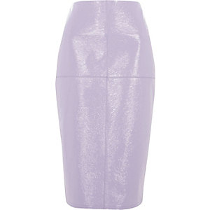 Light purple vinyl pencil skirt
