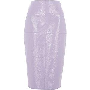 Jupe crayon en vinyle violet clair