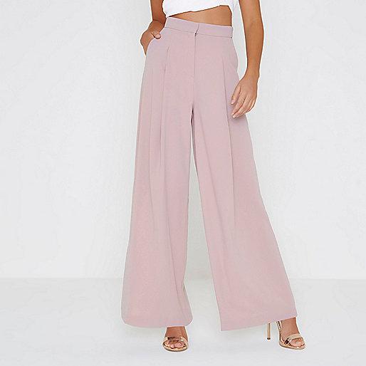 Light pink wide leg trousers