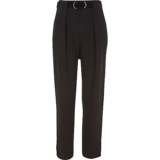 Black belted tapered trousers