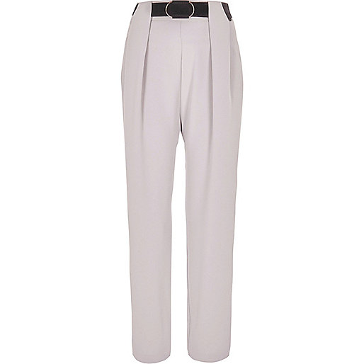 Grey belted tapered pants