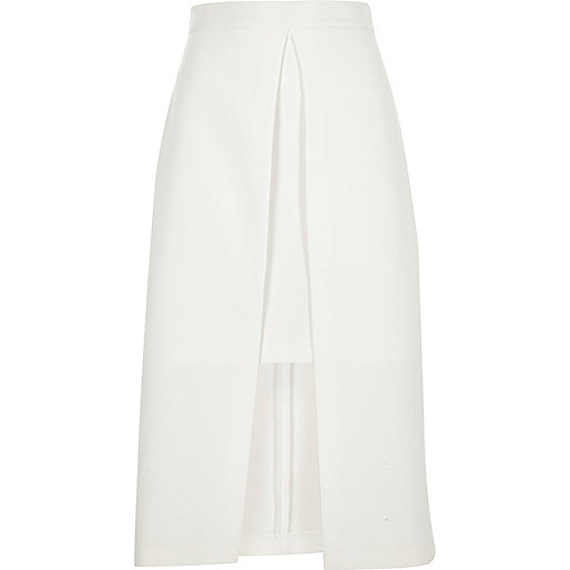 White wrap midi skirt