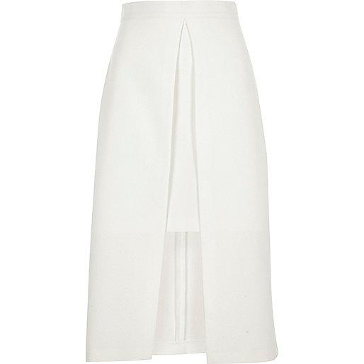 White wrap midi skirt