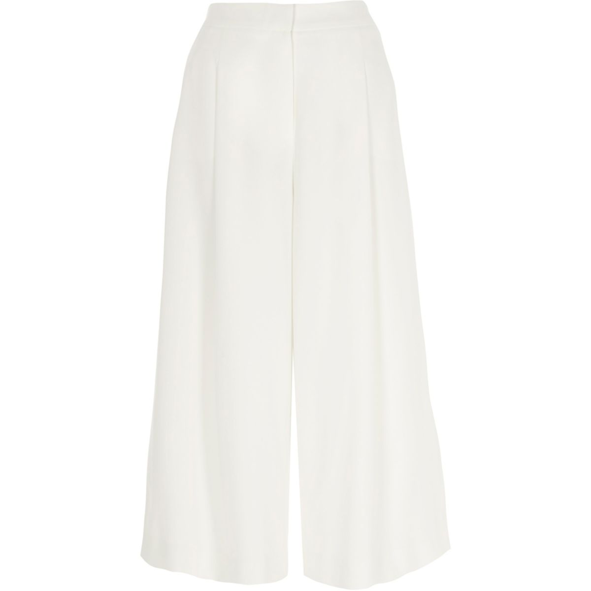 White soft woven culottes