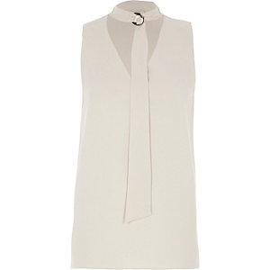 Light grey D-ring tie neck sleeveless top
