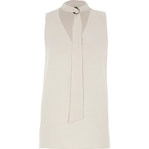 Light grey D-ring tie neck sleeveless top