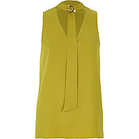 Lime D-ring tie neck sleeveless top