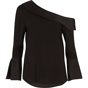 Black one shoulder flared long sleeve top