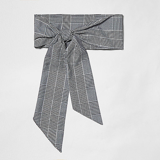 Grey check tie front belt