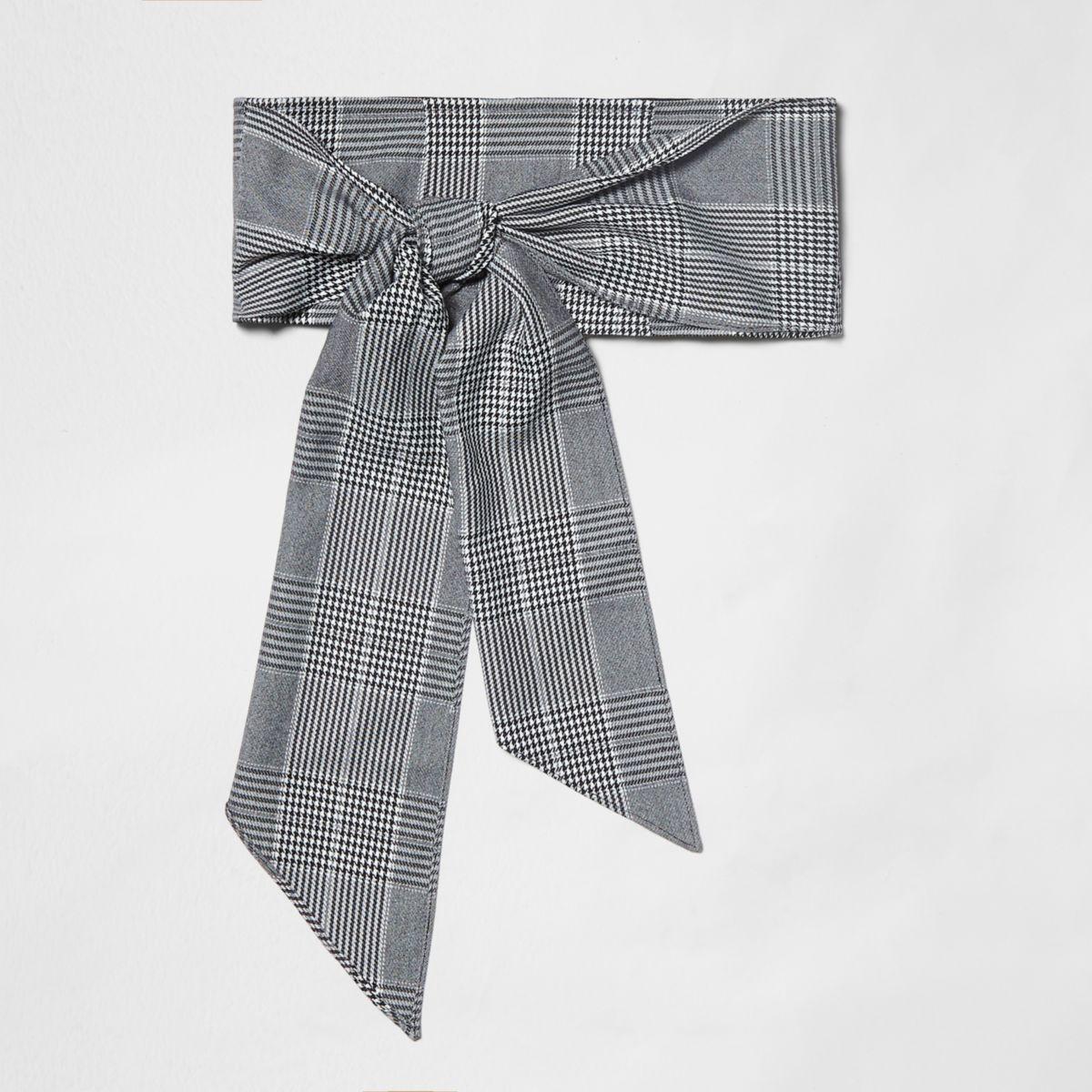Grey check tie front belt
