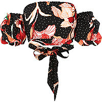 Black floral puff sleeve bardot crop top