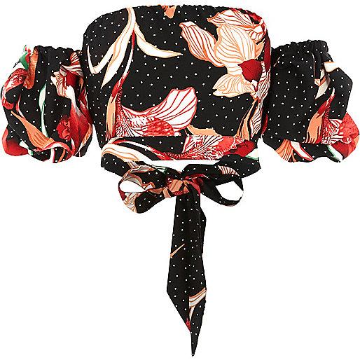 Black floral puff sleeve bardot crop top