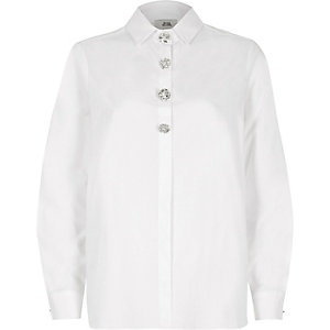 White oversized diamante long sleeve shirt