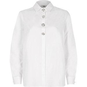 White oversized rhinestone long sleeve shirt