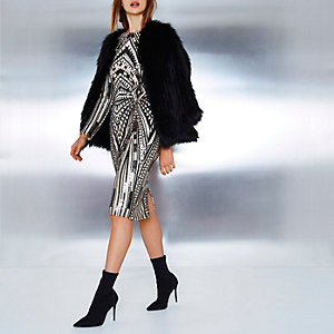 Black sequin embellished midi bodycon dress