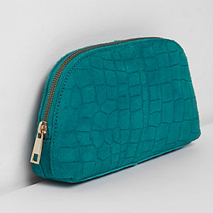 Turquoise blue croc suede make up bag