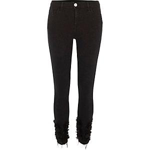 Black 3d flower hem Amelie super skinny jeans