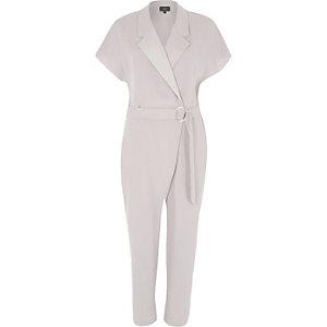 Grey short sleeve tuxedo jumpsuit