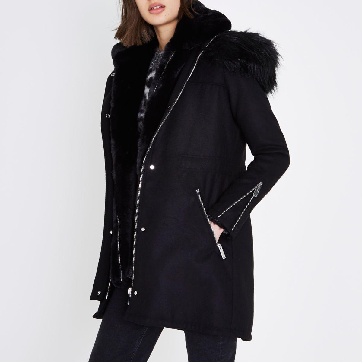 Black faux fur vest lined parka