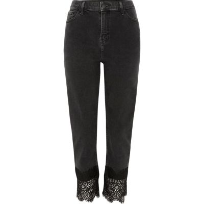 Black Bella Lace Hem Straight Leg Jeans by River Island
