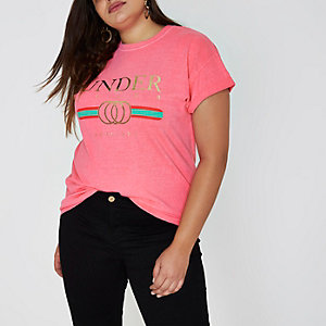 Plus pink 'under cover' boyfriend T-shirt