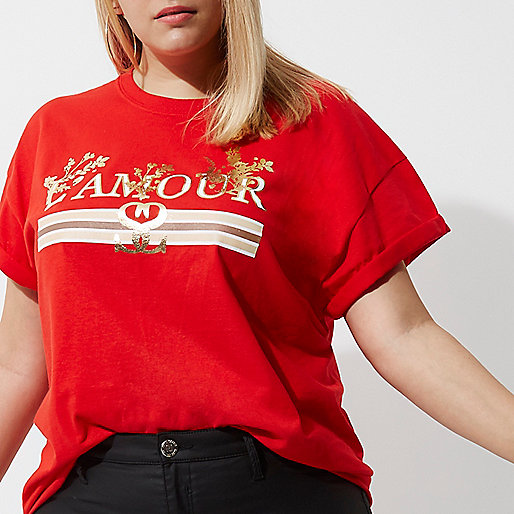 Plus red 'amour' print boyfriend T-shirt
