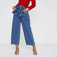 Jupe-culotte en jean bleu foncé à ceinture