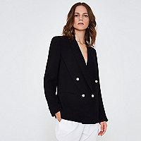 Zwarte double-breasted blazer met imitatiepareltjes