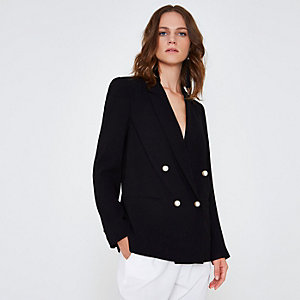 Black faux pearl double breasted blazer