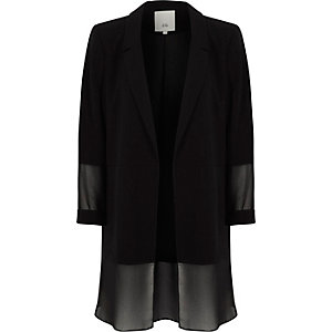 Black chiffon layer blazer