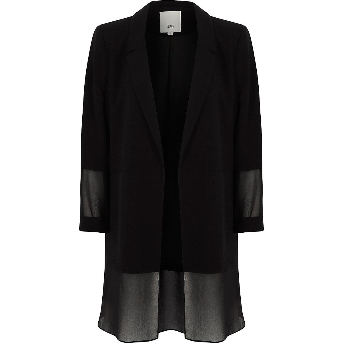 Black chiffon layer blazer