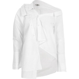 White deconstructed long sleeve shirt